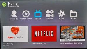 The Boxee Box home screen is nicely organized into six levels so it's easy to maneuver around and access content.