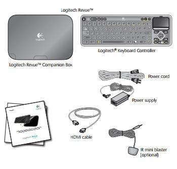 Everything you need to start streaming media is included with the Logitech Revue companion box.