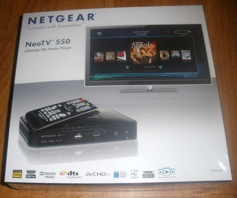 The retail packaging of the Netgear NeoTV 550.